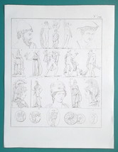 GODS Hephastos Hermes Goddess of Peace Minerva Athena - 1828 Antique Print - $14.40