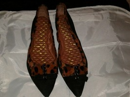 Sam Edelman Black & Brown Ballet Leather Upper 2 Studded Bows Flats Size 9.5 M - $39.60