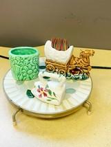 Lot Of 3 Vintage Ceramic Horse Wagon & Laundry Irons & Vase TOOTHPICK HO... - $9.99