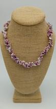 Vintage Shell Necklace Lavender Purple Beachy Surfer Boho - $12.87