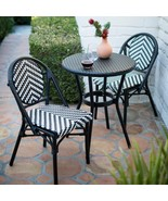 Black White Resin Wicker Bistro Set Small Space Outdoor Patio Dining Set... - $504.40