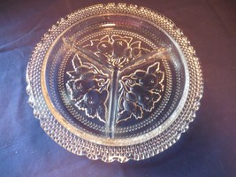 Imperial Glass Intaglio Fruit Round Divided Relish Dish 3 Part   - $17.99