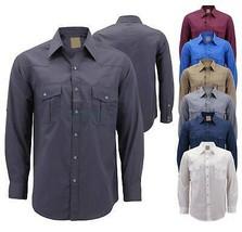 Men's Casual Western Pearl Snap Button Down Long Sleeve Cowboy Dress Shirt image 1