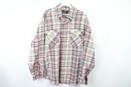 Vtg 90s Levis Mens Large Long Sleeve Double Pocket Plaid Western Shirt C... - £24.94 GBP