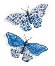 "Set of 2 - 14"" Wide Blue Metal Butterfly Design Wall Decor Plaques"