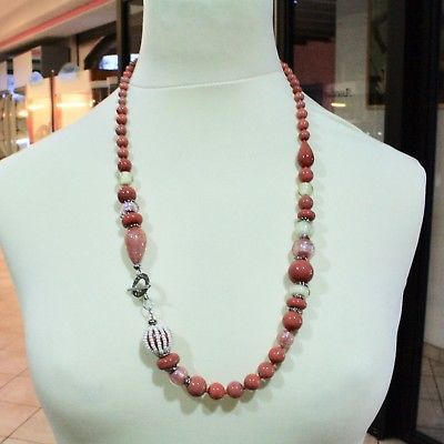 NECKLACE ANTIQUE MURRINA VENICE WITH MURANO GLASS RED CORAL BEIGE COA06A25