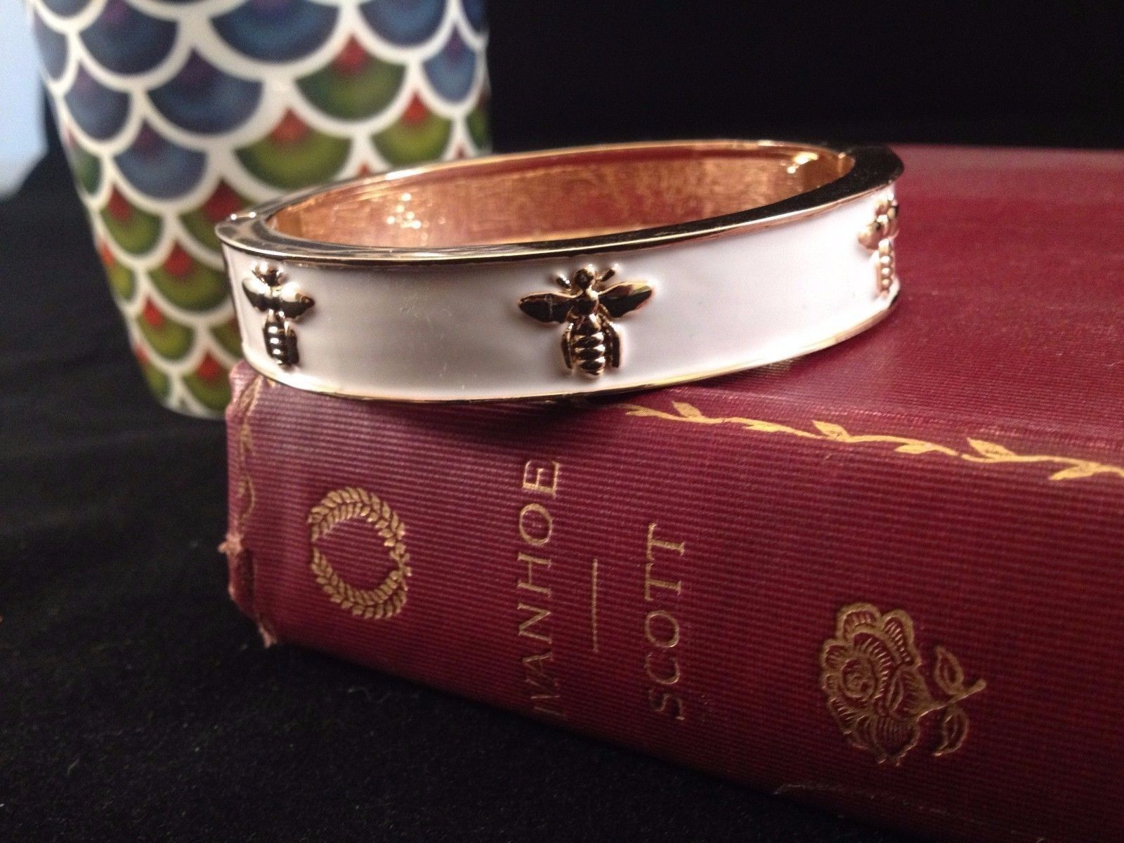 St. Germain Bee Bracelet Gold Ivory Enamel Bangle Luxury Hinged Classic Preppy