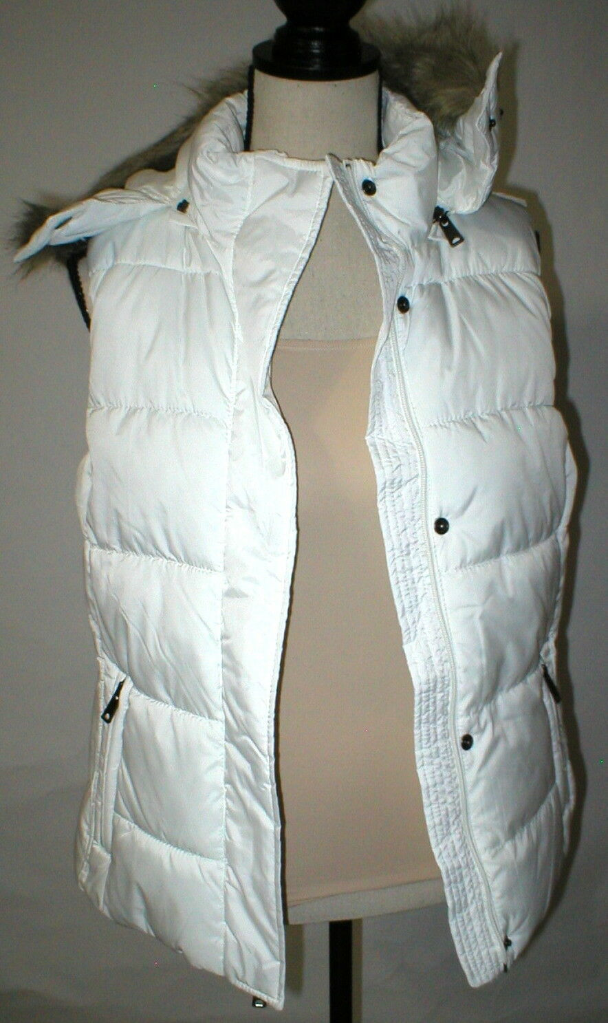 New NWT Womens S Banana Republic Faux Fur Hooded Vest White Removeable Sherpa image 2