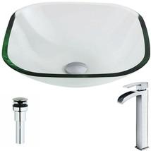 ANZZI Bathroom Sink 16.5 in. Scratch Resistant Clear (Drain Faucet Inclu... - $235.19