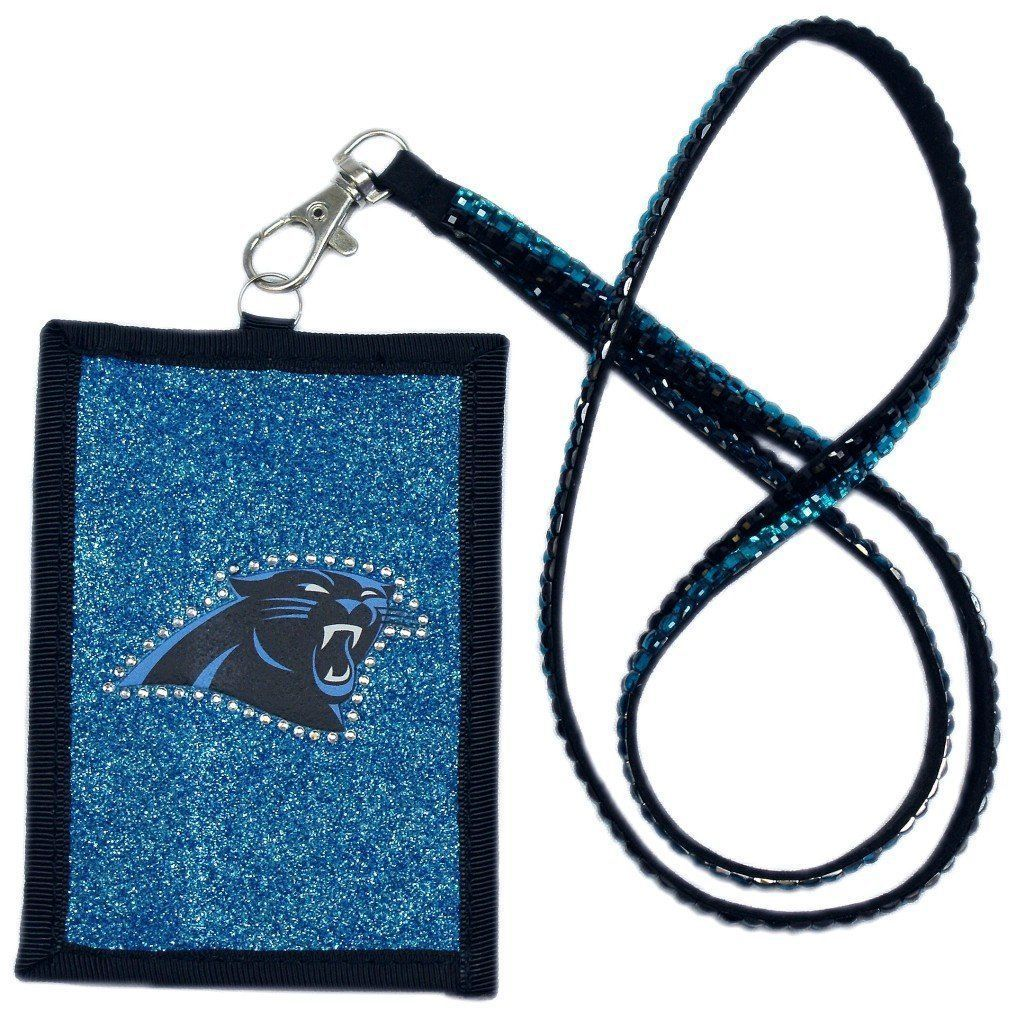 CAROLINA PANTHERS BEADED LANYARD ID CREDIT CARD ZIPPER POCKET WALLET FOOTBALL