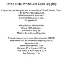 Onzie Bridal White Lace Stunner Capri Leggings Size M/L image 6