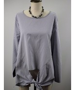 LANE BRYANT Stretch Scoop Neck Long Sleeve Stripe Top Blouse Plus Size 2... - $23.21