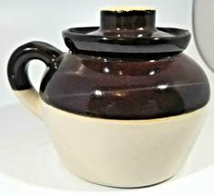 Vintage Bean Pot Ceramic Stoneware Crock Brown One Loop Handle Lid USA 6... - $20.79