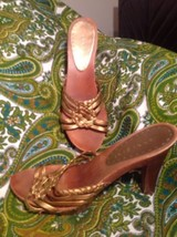 Gianni Bini Petra Women's Antique Gold Leather Strappy Wooden Heel Sandals 9.5M - $26.72