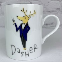 Pottery Barn Christmas Mug Reindeer Ceramic Coffee Cup Dasher Excellent - $16.82