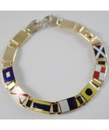Bracelet Yellow Gold 750 18K, Flags Nautical 8 MM, Glazed Tiles, Made IN... - $3,675.71