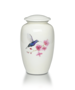 Large/Adult 220 Cubic Inch Alloy Cremation Urn in White Hummingbird - $149.99