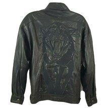 Marc Buchanan Tiger Embroidered Black Leather Jacket Mens Size 46 - $119.79