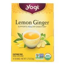 Yogi 100% Natural Herbal Tea Caffeine Free Lemon Ginger -16 Tea Bags -Case Of 6 - $33.63