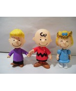 """LOT OF 3 PEANUTS 3"""" ACTION FIGURES XMAS ANGEL SALLY CHARLIE BROWN & SCHR... - $13.92"""