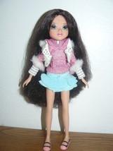 TM & MGA Girl Doll black hair pink & white glittered long sleeve top teal skirt - $7.33