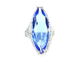 Antique Deco Uncas Rhodium Plated Filigree Cobalt Blue Paste Stone Ring ... - $67.49