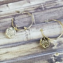 "Gold Tone Hoop Earrings Rose Flower 1.5"" Boho Festival Bohemian Fashion ... - $14.99"
