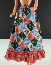 Barbie Clone Patchwork Like Peasant Skirt, Blue, Red & Black 1970s Clothing - $19.79