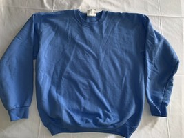 Hanes Ultimate Cotton Crewneck PrintPro Sweatshirt Size M Blue Blank - $8.74
