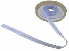 Gingham Check Light Blue White Ribbon 10mm 3 Lengths - $4.81+