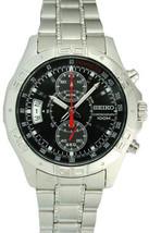 Seiko men watch 7T94 chronograph black dial SNN097 - $132.66