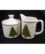 Small china covered sugar & creamer for one Christmas tree gold snowflakes - $17.30