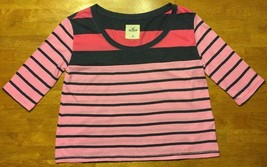 Hollister Women's Pink & Blue Striped 3/4 Sleeve Shirt / Blouse - Size: XS - $14.84