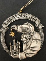 Vintage 90s Avon Santa Claus Christmas Ornament 1997 Metal Pewter - $34.99