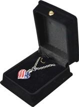 """Flag Heart Pendant w/20"""" silver chain & black velvet display box - $149.99"""