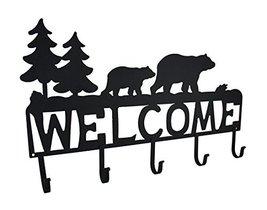 Zeckos Rustic Black Bear Decorative Welcome Wall Hook image 12
