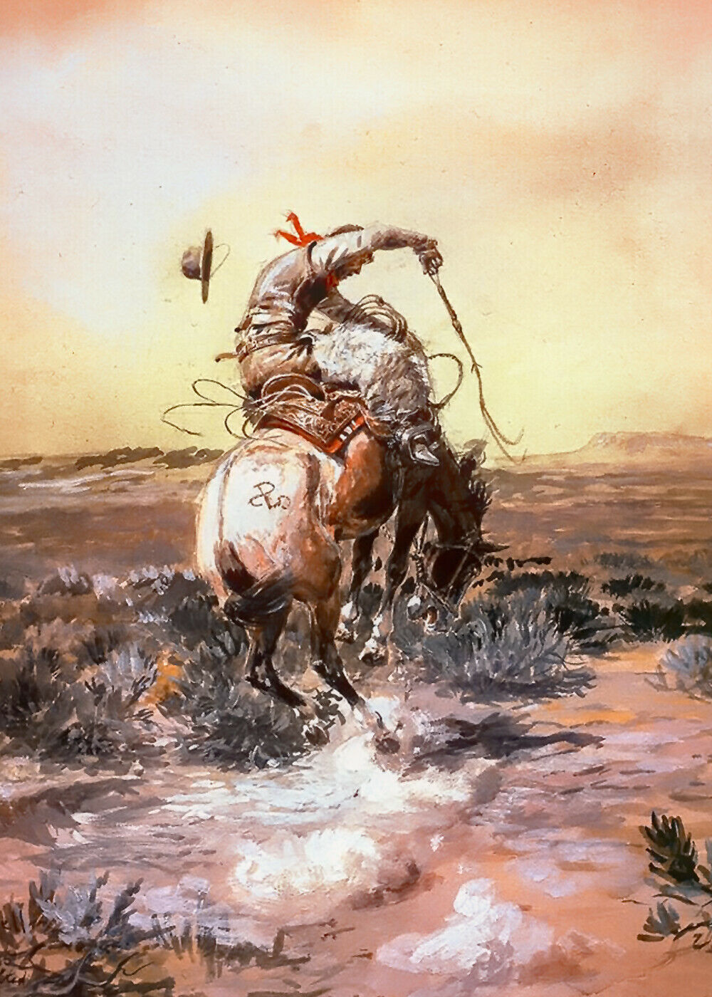 Primary image for Slick Rider by Charles Russell Cowboy Bucking Horse Western Canvas Giclee 20x30