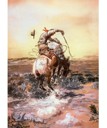 Slick Rider by Charles Russell Cowboy Bucking Horse Western Canvas Gicle... - $183.15