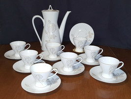 Rosenthal Classic Rose Continental China Coffee Expresso Tea Set White Rose Gold - $99.99