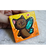 Little fairy cat - A brown fairy kitty with blue wings (Mini painting w... - $23.00