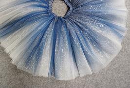 Women Girl Frozen Tutu Skirt Silver Blue Layered Puffy Tutu Skirt image 6