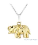 0.04 ct Round Cut Diamond Elephant Animal Charm Necklace Pendant 14k Yel... - $379.99