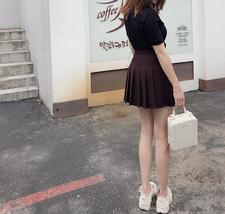 Women Girls Black Pleated Skirt Plus Size Black Pleated Mini Skirt Tennis Skirt image 6