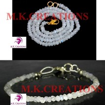"Natural rainbow moonston 3-4mm Beads Beaded 16"" Necklace 7"" Bracelet Jewelry Set - $22.47"