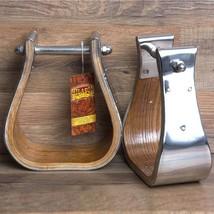 """Hilason Western Wooden W/ Steel Horse Saddle Stirrups Pair W/ 3"""" Thread U-30+S - $60.34"""