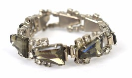 Smokey Topaz Clear Tapered Juliana Rhinestone Art Deco Bracelet Vintage - $79.15