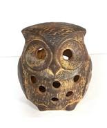 Vtg Great Horned Owl Tea Light Candle Holder Brown Pottery Farm Decor - $16.95