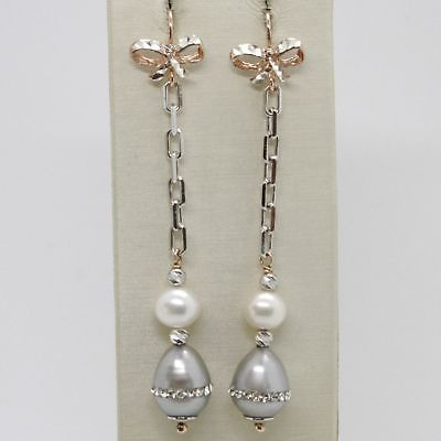 EARRINGS SILVER 925 TRIED AND TESTED HANGING WITH PEARL GREY CRYSTALS BOW