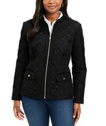 CHARTER CLUB Black Quilted Mandarin Collar Full Zipper Essential Jacket ... - $30.72