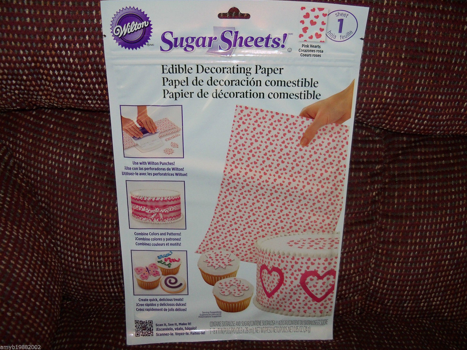 Primary image for Wilton Sugar Sheets! Pink Hearts SET OF 3 NEW HTF